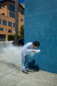 Koki Tanaka, Process of Blowing Flour, 2010. Action, photograph. Commissioned by Yerba Buena Center for the Arts, San Francisco. Photo: Tomo Saito