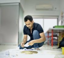 Imran Qureshi in his studio. Photo: Hassam Rana. � Hassam Rana