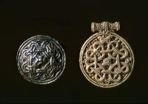 Terslev-style Viking gold pendants with looped cross ornament decorated using filigree and granulation techniques, Courtesy Wikingermuseum Haithabu