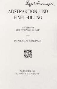 "Cover of ""Abstraktion und Einfühlung"" (Munich: Piper & Co., Verlag, 1908). This copy