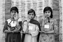 "Gauri Gill, Sunita, Sita and Nirmala, 2003, from the series ""Balika Mela"", 2003/2010. Image courtesy the artist."